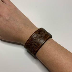 Genuine Leather Embossed Bracelet